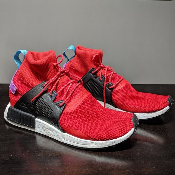 new style 5728b 49edb Adidas NMD XR1 Winter BZ0632 Red Knit Ultra Boost NWT